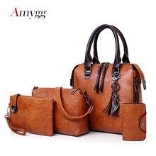 Luxus Frauen Handtaschen 4 Pcs Set Frauen Composite Tasche Quaste Anhänger Tote Taschen Für Frauen Große Kapazität Schulter Tasche