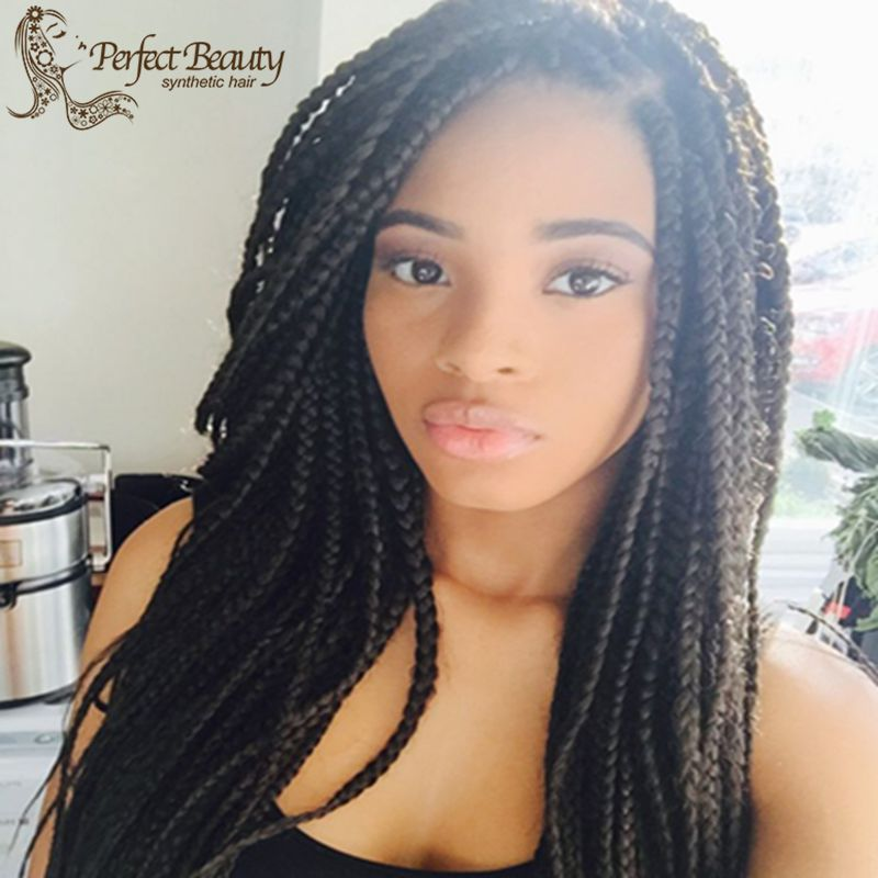Medium Box Braids Synthetic Lace Braided Wig Heat
