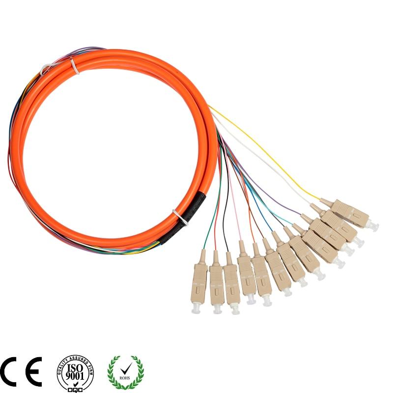 12Core Cable with SC/UPC Pigtail-PVC-OM1-Orange-1.5m / Optical Fiber Pigtail