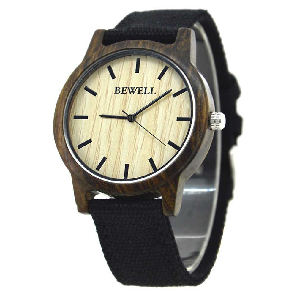 BEWELL Bamboo Wood Watch Analog Digital For Men 58