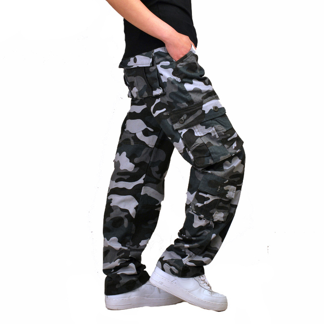 Mens Camouflage Baggy Cargo Pants Military Loose Fit Multi-pocket Casual Cotton Work Straight Tactical Overalls Trousers 3