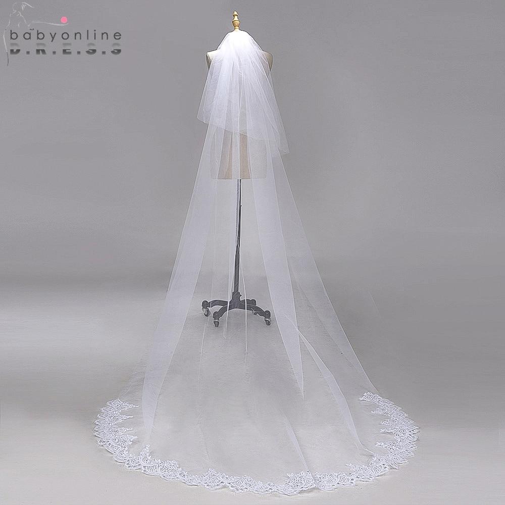 Wedding-Veil Lace-Edge Chapel Long Voile Comb Tulle Mariage 3M With Cheap Veu-De-Noiva