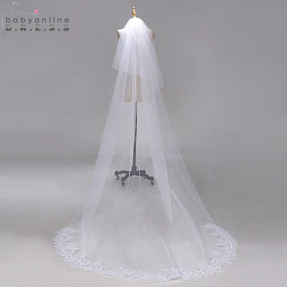 Voile Mariage 3M Lace Edge Chapel Long Wedding VeiL With Comb Tulle Bridal Veil Long Cheap Wedding Accessories Veu De Noiva