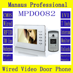 High Quality Wired Magnetic Lock RFID Video door phone,Smart Home 7 inch Screen Display 1V1 Video Intercom Phone D82b