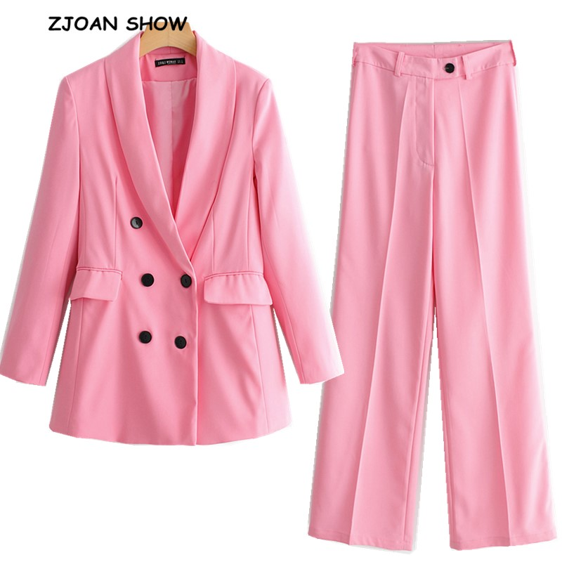 2019 New Spring BF Style Double-breasted Button Women Pink Blazer High Waist Small Straight Pants Long Sleeve Suits 2 Pieces Set