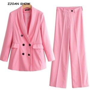Image 1 - 2019 Yeni Bahar BF tarzı Kruvaze Düğme Kadınlar Pembe Blazer Yüksek Bel Küçük Düz Pantolon Uzun Kollu Takım Elbise 2 Adet seti