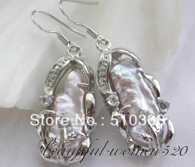 22 mm dens lavender biwa freshwater pearl dangle earrings