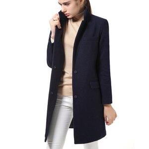 Image 3 - נשים צמר מעיל באיכות גבוהה סתיו חורף מעיל נשים Slim צמר קשמיר מעילי קרדיגן אפור מעילי תערובת אלגנטית