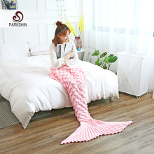 Parkshin Wholesale Pink Mermaid Tail Knitted Blanket Soft Crochet Handmade Sleeping Bag for Kids Adult All Season Best Gift