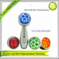 Photon Red Green Blue Yellow And Microcurrent Led Light Therapy Skin Rejuvenation Facial Beauty Massager Machine