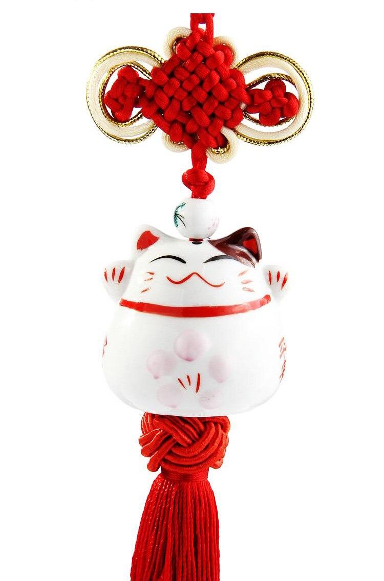 Car interior hanging - Car Accessories Plutus Cat Hang Chinese Knot Ceramic Cat Car Interior Pendant Hanging Ornament China