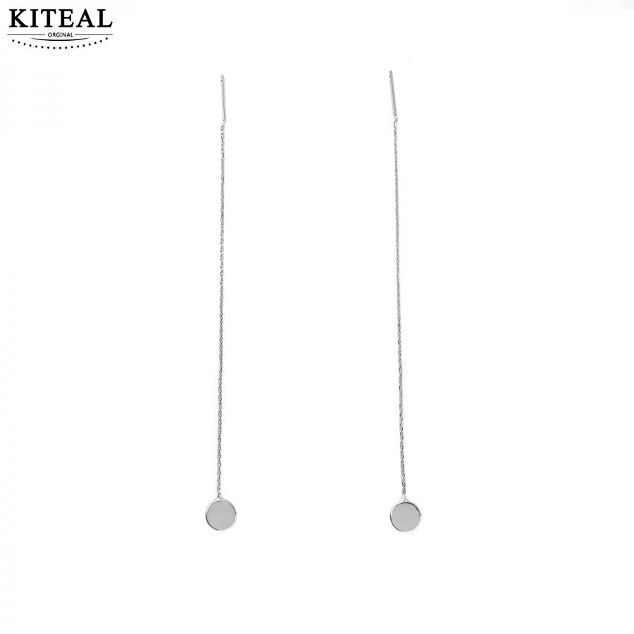 KITEAL 2018 New Fashion Plated Silver Geometric Geometric Round Word Fringe Drop Earrings for Women Jewelry High Quality