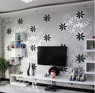 Simple black and white three dimensional flocking wallpaper silver bottom  flower modern bedroom living roomTV. Simple black and white three dimensional flocking wallpaper silver