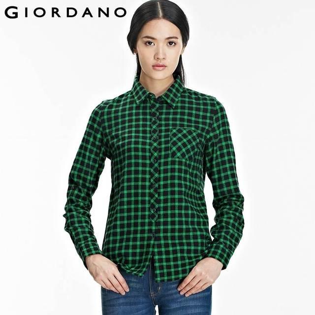 Aliexpress.com : Buy Giordano Women Plaid Shirt Womens Pocket ...
