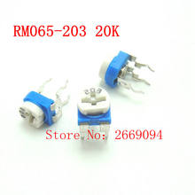 50 PCS RM-065 RM065 20 K ohm Trimpot Trimmer Potenciômetro resistor variável 203 RM065-203 frete grátis