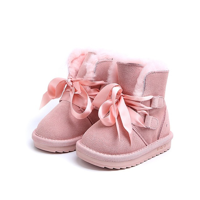 Baby girl s real fur wool Snow boots Ribbons lace up children s real  leather winter shoes warm plush ankle boots for kids 4d098c5d74f8