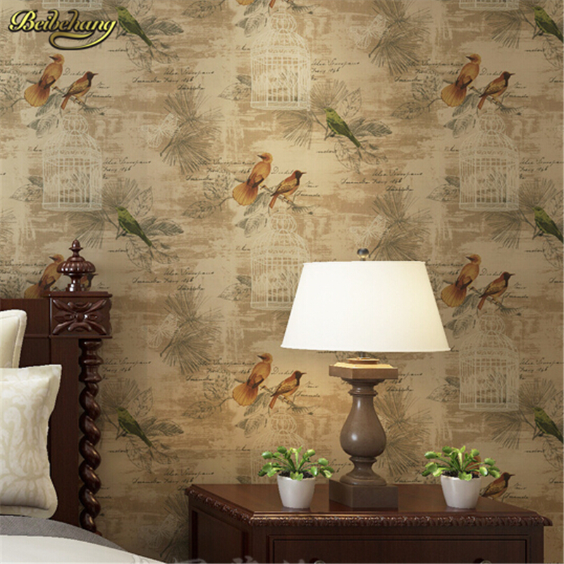 beibehang American rural retro pure paper bedroom living room TV background bedside bird wallpaper York Wind papel de parede