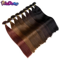 DinDong 22''Straight Keratin Synthetic Fusion Hair Extensions 100stands/pc Nail U Tip Drawn Heat ResistantPre Bonded Hair