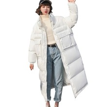 Women Winter Down Cotton Parkas White Warm Thicken Coat 2018 Fashion Padded Long Jacket Casual Pockets Female Overcoat PJ309