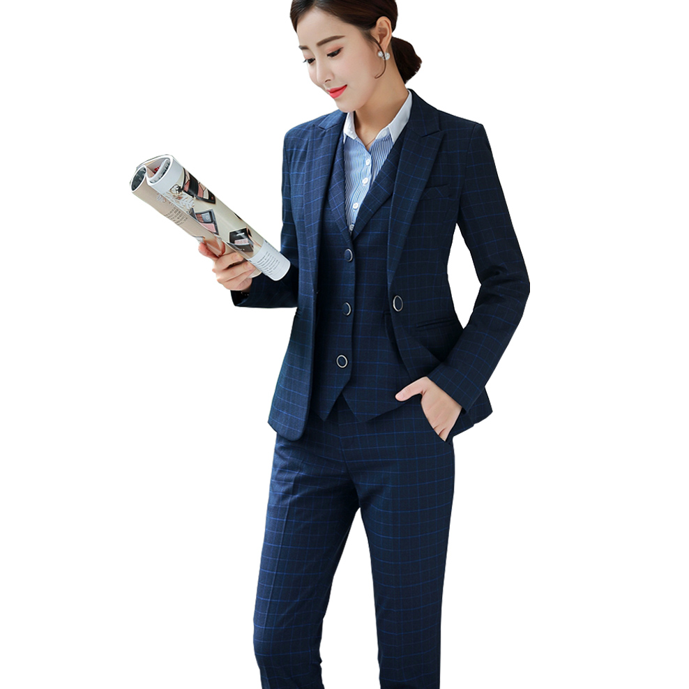 Pant Suits Women Blazer Set Casual Autumn Lady Business Office Work Uniform V-neck Long Jacket Elegant Pants Suits Punctual Timing Women's Clothing Suits & Sets