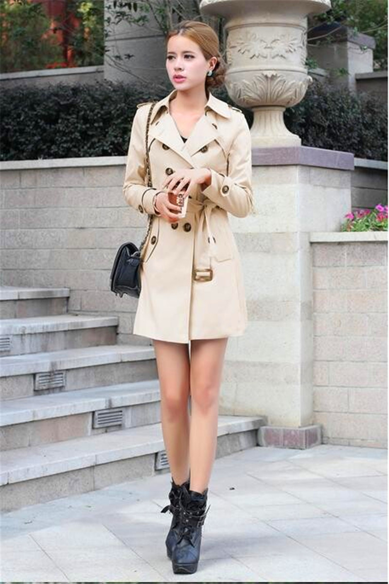 New Plus Size Solid Casual Windbreak Coats Slim Button With Belt Full Sleeve Turn-down Collar Woman Clothing   Trench