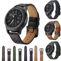 22mm Retro Lederarmband für Samsung Getriebe S3 Klassische/Frontier Uhrenarmband für huami amazfit Metall schnalle Armband