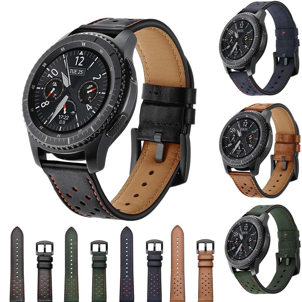 цена на EIMO Watch strap for Samsung Gear S3 Frontier Classic band 22mm Retro Genuine Leather huami amazfit bracelet Wristband Belt