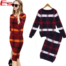 New 2016 Winter 2 Pieces Sweater Dress Set Women Long Sleeve Office Wear Casual Plaid Pullover Knitted Dresses Clothing Suit