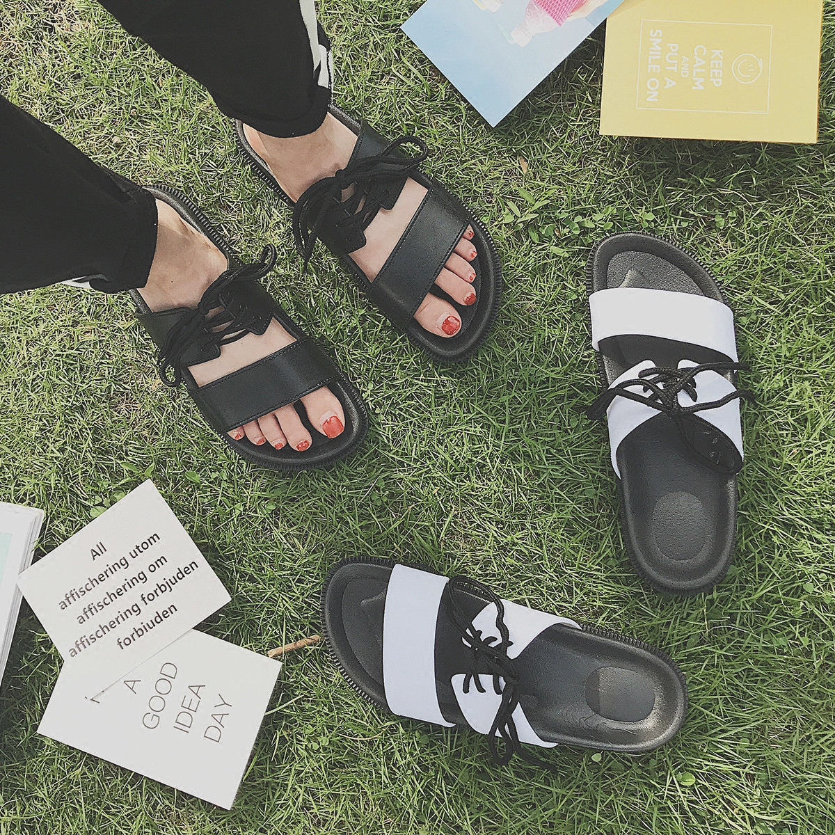 Mazefeng 2018 Unisex Slippers Male Shoes Summer Slippers Men Casual Cross-Tied Slippers Lovers Simple Female Rome Stytle Slides