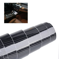 DWCX Car Styling 5D Carbon Fiber Texture Black Glossy Wrap Sticker Film Decal Roll DIY Decor
