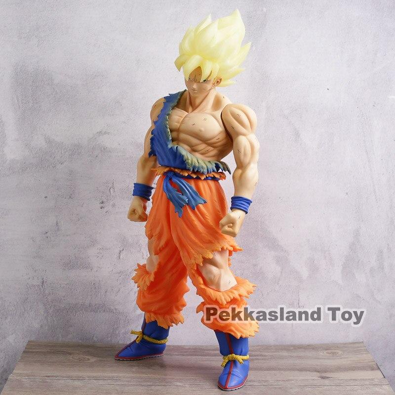 Dragon Ball Z Super Saiyan Son Goku bataille dommages PVC figurine à collectionner modèle jouet cadeau 44 cm