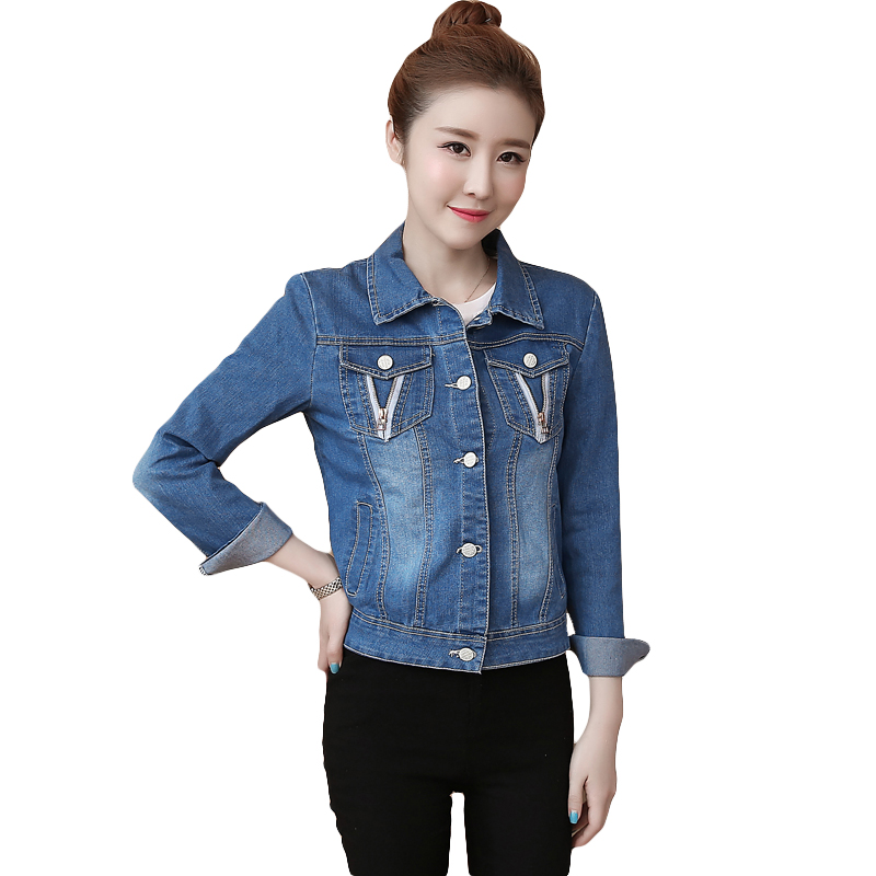 Spring Women Slim Denim Jacket Plus Size S-2XL Vintage Cropped Short Denim Coat Long-Sleeve Jeans Coat Cardigan Light Blue