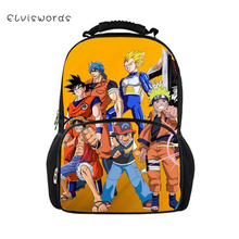 ELVISWORDS One Piece Dragon Ball Backpacks For Teenage Boys Girls School Bag Casual Cool Pattern Rucksack Mochilas Back Pack Bag цена в Москве и Питере