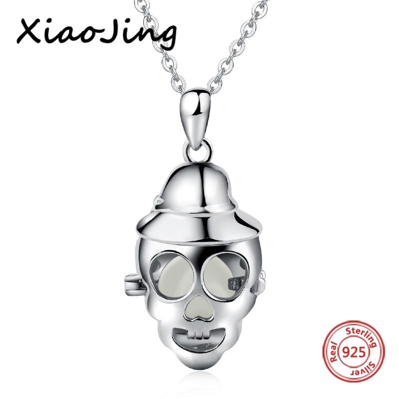 ba3d74bc54b6 Aliexpress recomienda 925 Plata de Ley esqueleto brillante colgante collar  DIY auténtica joyería de moda para regalos de mujer