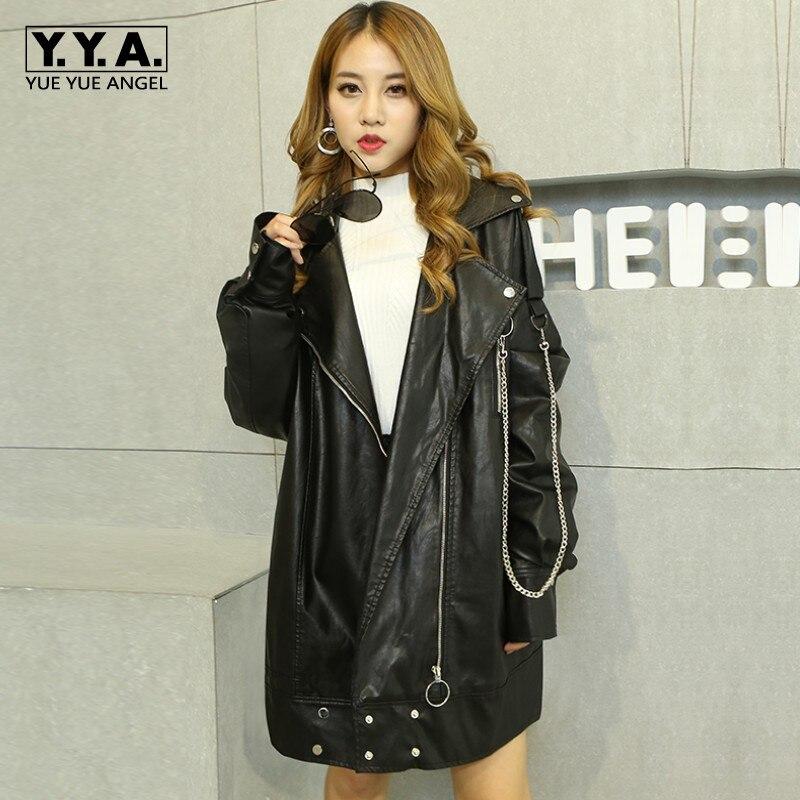 Baggy Boyfriend BF Wind Harajuku Long Style Girls Motorcycle PU   Leather   Jackets Coat Female Black Plus Size Classic Black Jacket