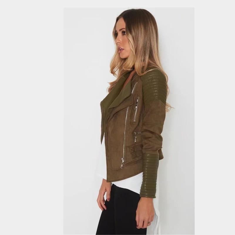Feminino Mode En Casaco Nouvelles Mince Automne Femmes 2018 Revers Printemps Veste Cuir Zipper Pu Dames De Tw0ZBw