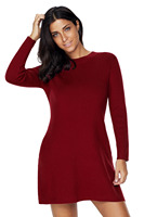 New Casual Autumn Winter Sweaters Knitted Dresses Women Mini Warm Gray Wine Black High Neck Long