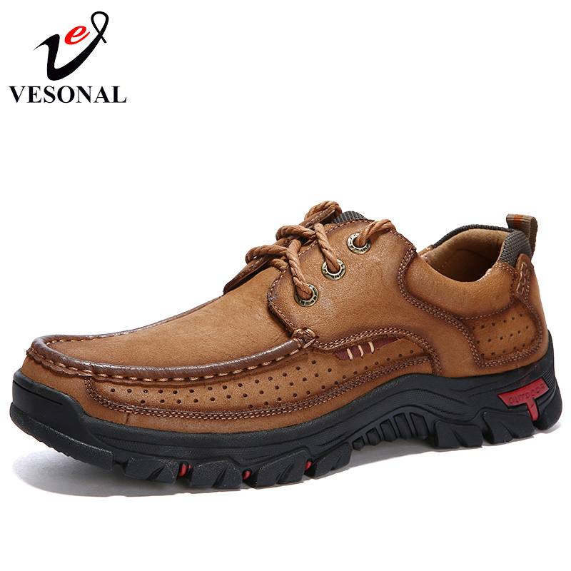 VESONAL 2018 Genuine Leather Walking Casual Male Shoes For Men Adult Footwear Quality Classic Cargo Work