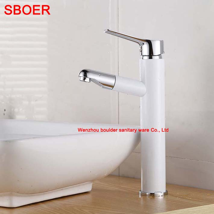 ФОТО New Hot Pull Out salle de bain Torneira. Chrome White Brass Spouts Faucet.Deck Mounted Kitchen and Bathroom Tap Sink Mixer Tap