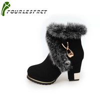 2017 Fashion Women Boots High Heels Ankle Boots Platform Shoes Brand Women Shoes Black Autumn Winter
