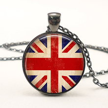 Union Jack Flag Pendant Vintage Fashion Woman Man Jewelry The UK British Flag Great Britain Necklace 25mm Glass Cabochon Gift