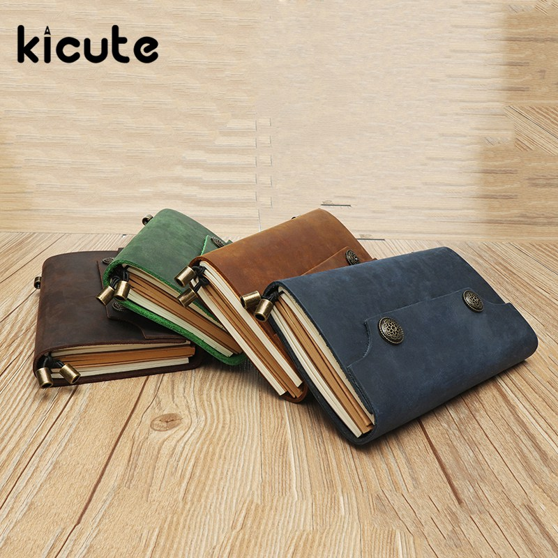 Kicute 1pcs Genuine Leather Notebook Traveler Diary Handbook Retro Diary Sketchbook Office School Stationery Supplies Gifts commission customized notebook a5 sketchbook handbook personalized stationery gift photo image logo on the cover
