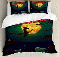 Halloween Duvet Cover Set Happy Halloween Poster Design Witch on Broom Mushroom Dead Resurgence Vintage 4 Piece Bedding Set