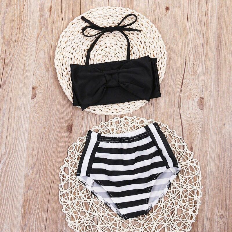 Toddler Kids Baby Girls Tankini Bikini Set Swimwear Swimsuit Bathing Beachwear 2017 Children Stripe Biquni Trikini Swimming Suit