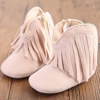 Newborn Baby Boy & Girl Kids Prewalker Solid Fringe Shoes Infant Toddler Soft Soled Anti-slip Boots