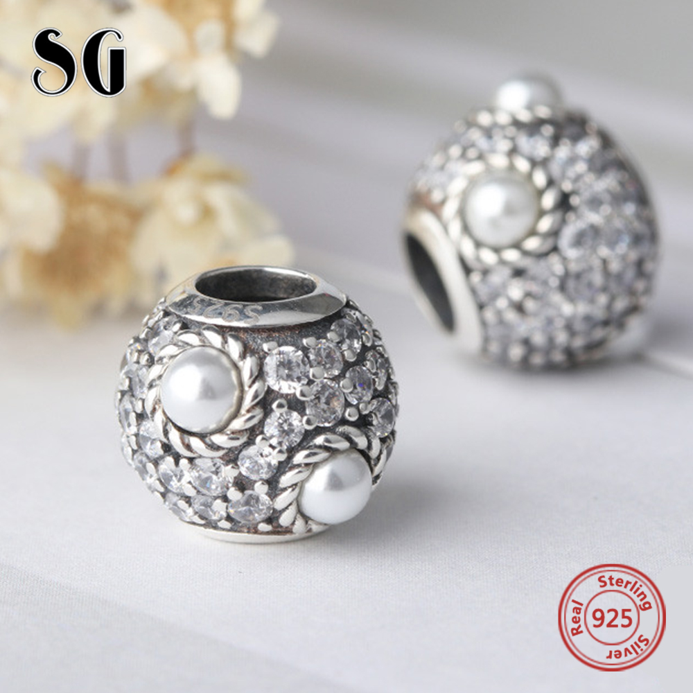 Silver Galaxy 925 Sterling Silver Pearl with CZ Beads For Women Fit Original Pandora Charms Bracelet Authentic Fashion Jewelry
