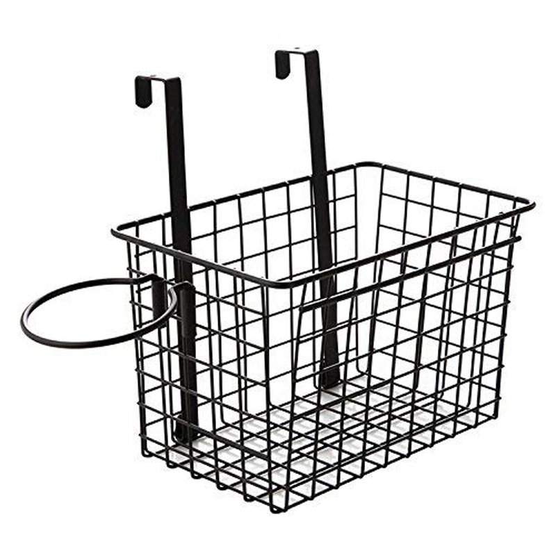 Over The Cabinet Door Black Wire Storage Basket With Hair Dryer Holder Storage Bin For Toy Lotion Shampoo Toiletry Towel Kitchen