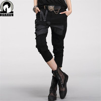 2015 New Women Casual Harem Pants Capris Rock Denim Pants Hip Hop Jeans Patch Holes Summer