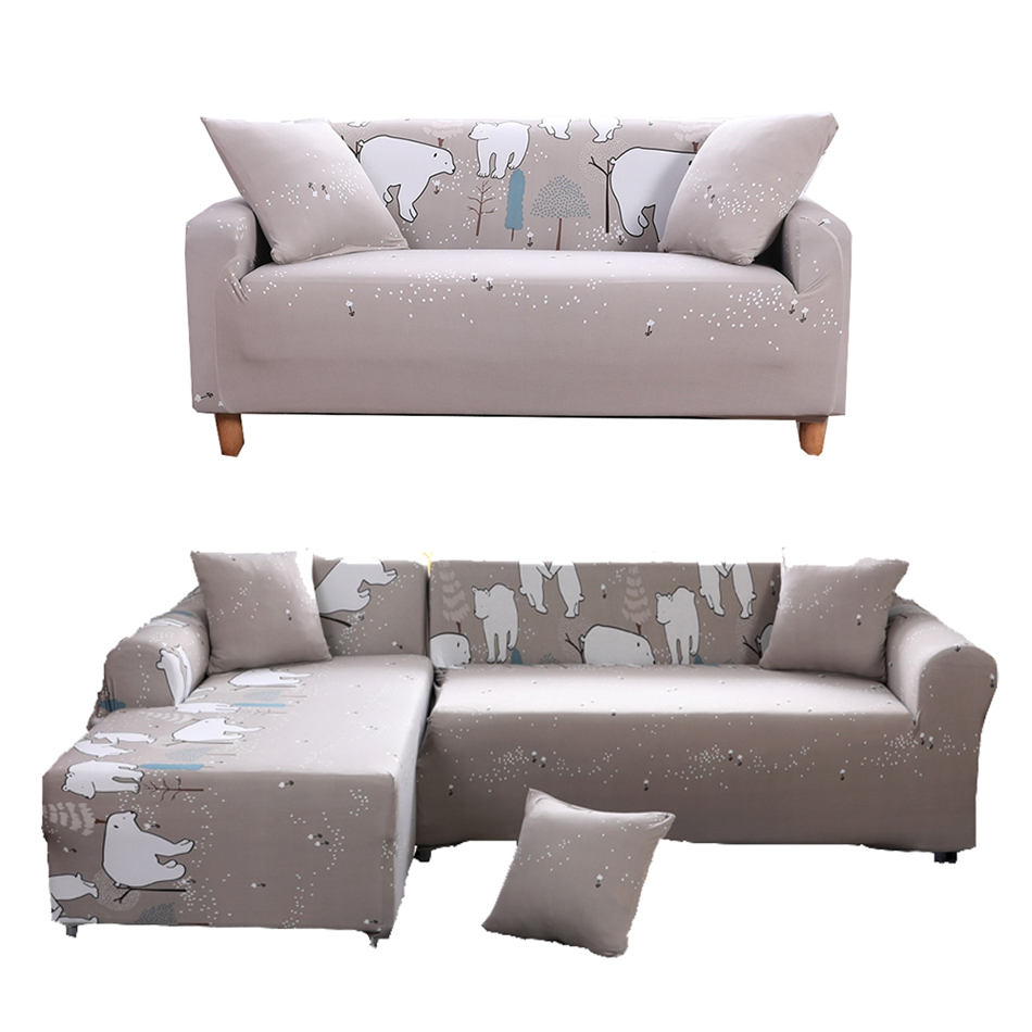 Grey Cartoon Couch Sofa Covers For Living Room White Bear