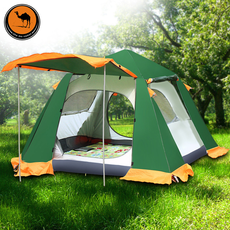 Outdoor 3-4 people double layer decker family leisure park camping tent outdoor camping hiking automatic camping tent 4person double layer family tent sun shelter gazebo beach tent awning tourist tent